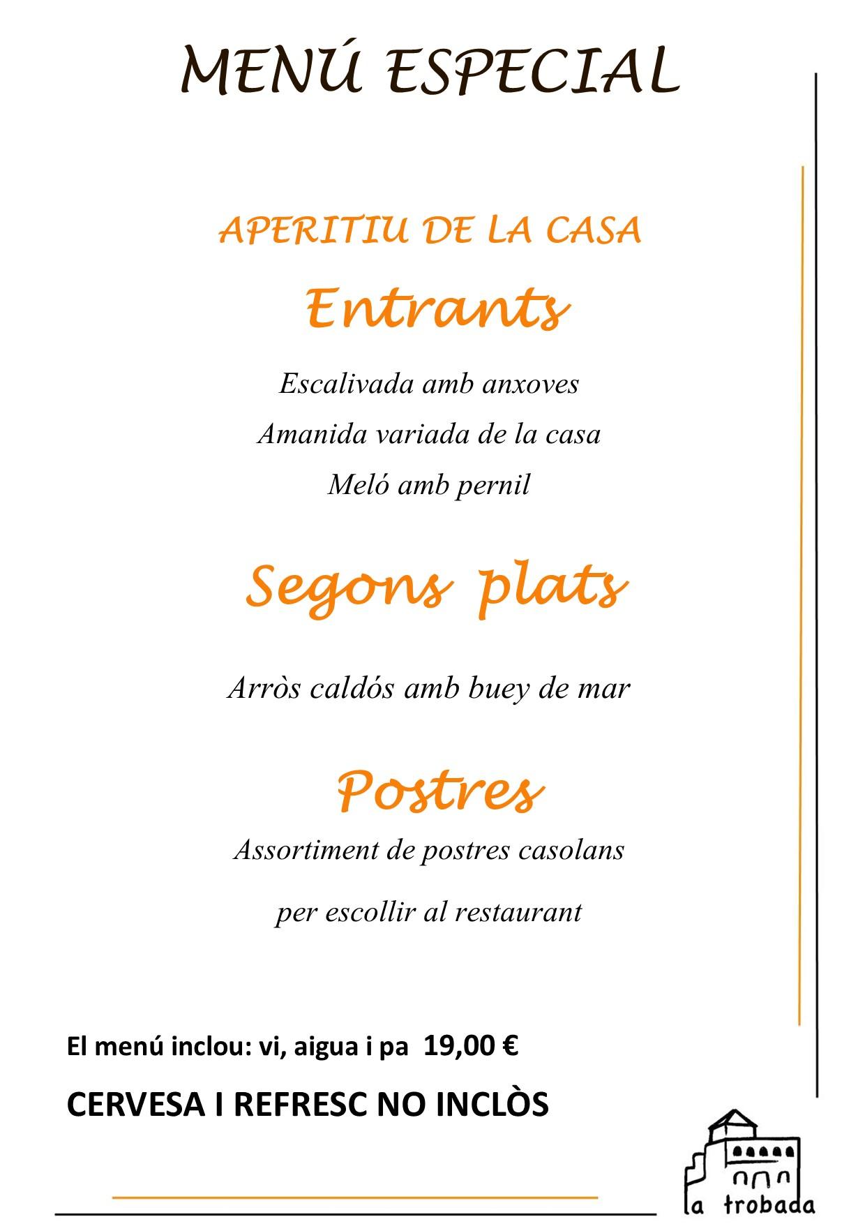 Menú especial arroz caldoso catalán