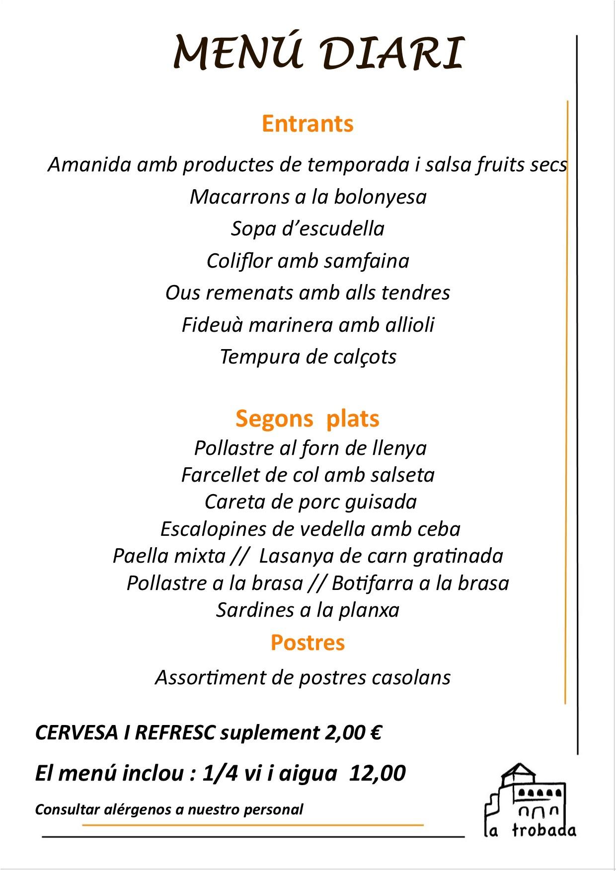 Menú del dia catalán restaurant